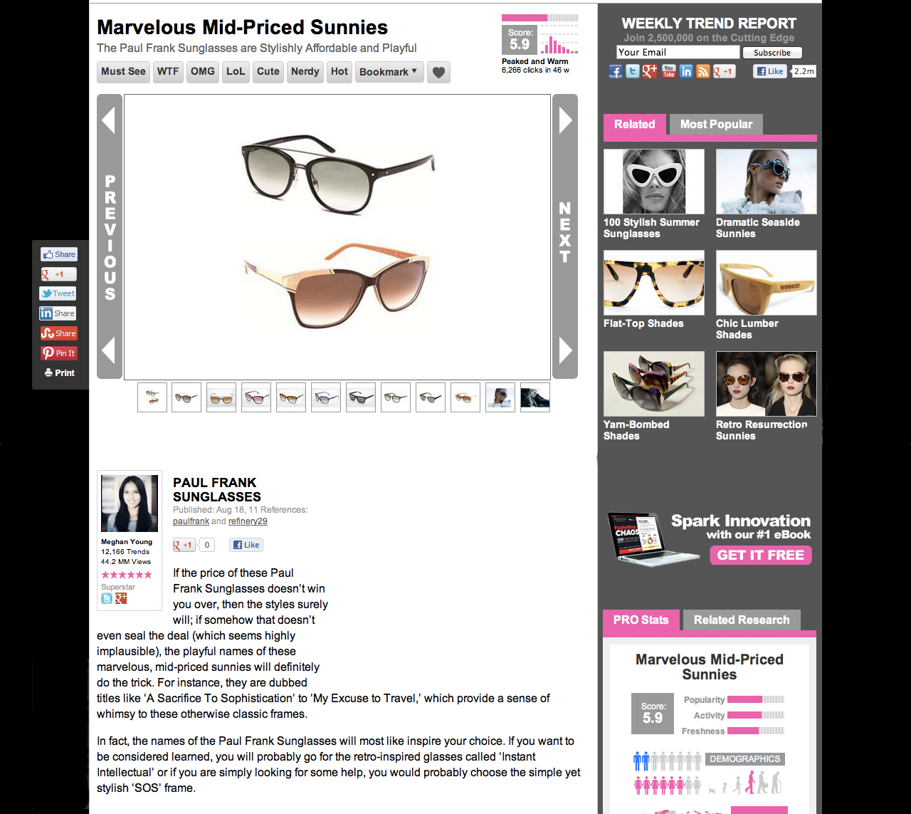Paul Frank SUNGLASSES My Excuse To Travel Baumvision CHOICE OF 1