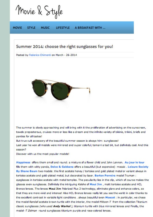 Style and Movie Blog MOSCOT